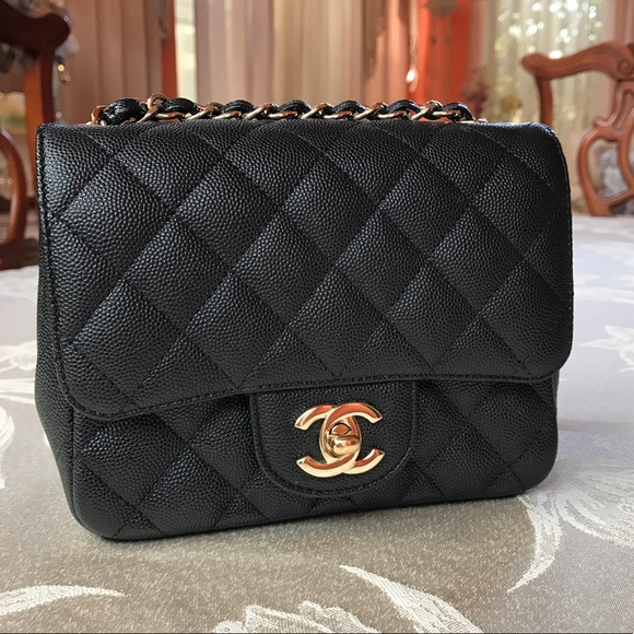 6bc6ee9c CHANEL Mini Flap Square - Caviar/Light gold